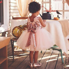 Kids Baby Girl Princess Dress Sequins Bowknot Ball Party Bridesmaid Tutu Gown US