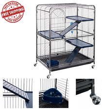 Small Rodent Rat Ferret Cage Chinchilla House Pet Home Safety Metal With Wheels