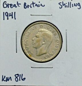 Great Britain, 1941, Shilling, Silver Coin, KM 816, Beautiful toning & luster