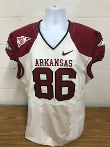 🏈 Arkansas Razorbacks Game Worn Used Jersey Trey Flowers Patriots Lions White