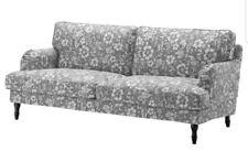 New Ikea STOCKSUND Sofa 803.063.70 Cover Slipcover Hovsten Floral  Gray/White