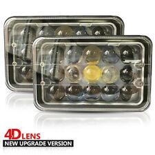 Pair Kenworth T300 1997-2010 4x6 inch 45W 4D LED Headlights High/Low Beam + DRL