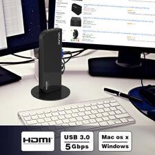 USB3.0 Universal Dual Display Docking Station,Vertical Aluminum Stand&6 USB Port