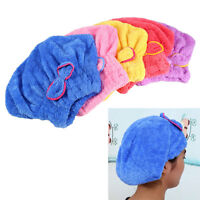 Microfibre Hair Drying Towel Wrap turban head Hat Bun Bow Cap Microfiber Soft HJ