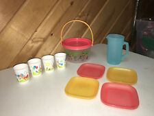 TUPPERWARE CHILDREN'S DISH  SET  TOTE PLATES GLASSES  PITCHER