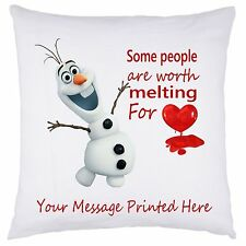 PERSONALISED FROZEN DISNEY CUSHION COVER OLAF VALENTINES DAY BIRTHDAY CHRISTMAS