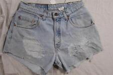 """Womens 30"""" Zipper Fly Levi Cut Off Denim Shorts High Waist Jeans Distressed"""