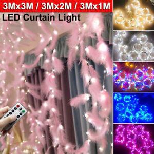 USB LED Feather Curtain Fairy String Lights Window Wedding Decor Christmas Xmas