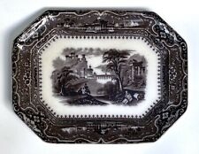 "Antique 1850s Vincennes Transferware Platter 13""x10"" Alcock Black Mulberry"