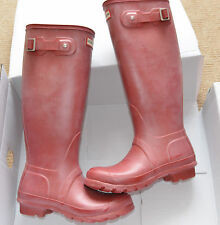 New Hunter Original Womens Tall Wellington Red Boots Rubber Rain Wellies UK 4