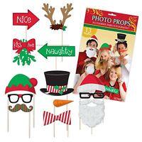 Christmas Glitter Photo Booth Prop Selfie Kit Work Xmas Fun Party Kids Santa Elf