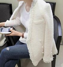 womens Tweed wool jacket Pearl button tassel jacket Weave jacket coat outwear