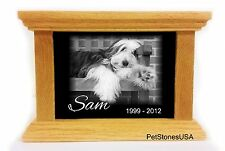 Pet Urn Memorial Stone Cremation Box Oak Wood 65 Engraved Shih Tzu Pomeranian