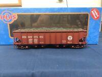 "Atlas ""O"" Pennsylvania (Brown) H21a Hopper w/ Coal Load 2-RAIL"
