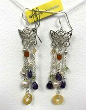 Amethyst, gemstones & pearls drop dangle butterfly Designer earrings 925 SS new