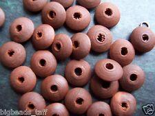 40pcs chocolate brown flat round wood round beads 14mm