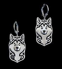 Alaskan Malamute Dog Earrings-Fashion Jewellery Silver Plated, Leverback
