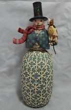 "Jim Shore Checkerboard Holiday Harmony Snowman Figure 15 1/2"""