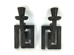Mid Century Greek Key Wood Candle Holder Wall Sconce Pair James Mont Style
