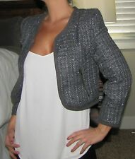 New Sexy Slim Fitted Gray Shimmer Classic Cropped Blazer Fitted Jacket Top S