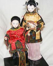 Décoratif chinois poupées sur socle porcelaine siège cour femme