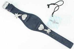 Original Edelzeit ENZIAN Uhrenarmband Blau 20mm Leder für Trachtenuhr Edelweiss