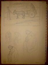Arthur Kolnik crayon sur papier artiste Polonais Reuven Rubin Itzig Manger