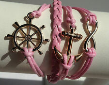 Wheel/Anchor/Infinity Pink Bracelet