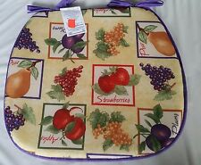 """RARE SET OF 4 KITCHEN CHAIR PADS CUSHIONS 15"""" x 15"""" with PURPLE strings, FRUITS"""