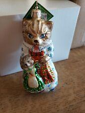 """Apron Strings"" Slavic Treasures 02-631 Cat Cat with Kitten Freeblown Ornament"