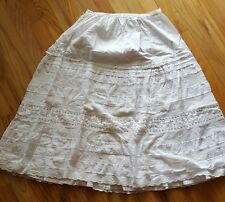 "Victorian ♡ White Cotton Petticoat Skirt ♡ Lots Of Lace ♡ 26"" Waist x 28""Long"