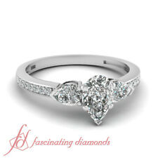 .85 Ct Pear Shaped Cut:Very Good Diamond Three Stone Engagement Ring VS2-D Color