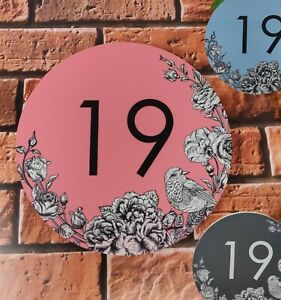 Personalised Circle House Sign Robin/Floral Print Large Plaque with Number 1-999