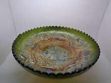 VINTAGE RETRO CARNIVAL WARE FOOTED BOWL GREEN WELSH DRAGON ENGLISH ROSE DESIGN