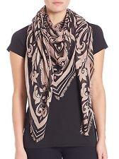 New Alexander McQueen Pink Black Paisley Skull Silk-Blend Scarf