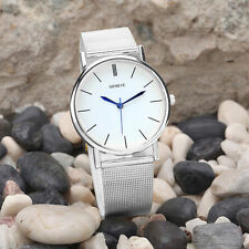 Ladies Fashion Geneve Quartz Silver White Dial Silver Mesh Band Wrist Watch.