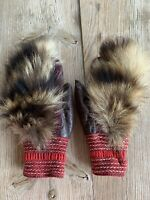 Vintage Ethnic Native Small Brown Leather Fur Pelts Children's Winter Gloves