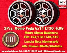 2 Cerchi Momo Vega FIAT Alfa pcd 4x98 124 125 131 132 Alfetta GTV Giulietta mk2