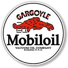 "(GARGO-1) 12"" round MOBIL MOBILOIL GARGOYLE DECAL OIL CAN GAS PUMP GASOLINE"