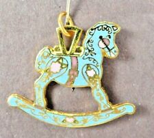 1997 Rocking Horse Decorative Arts Collection Commemorative Charm Turquoise Gold