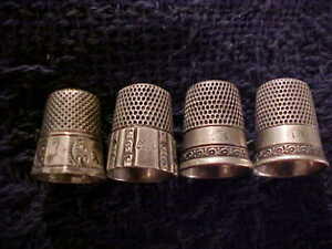 FOUR ANTIQUE Sterling Silver Thimble Ketcham & McDougall Simons Bros Collectible