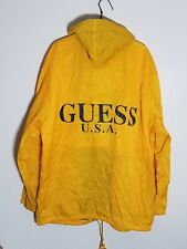 Guess Classics Mens XL Yellow 100% Nylon Full Zip Hooded Rain Jacket Spellout