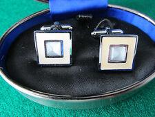 Pair of square enamel cufflinks