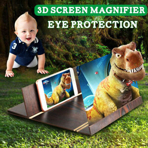 12'' 3D Phone Screen Magnifier Wood 3D Video Amplifier Folding Stand Wood