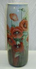 """Lg Antique 16"""" Willets American Belleek Lenox Hand Painted Poppy Flowers Vase"""