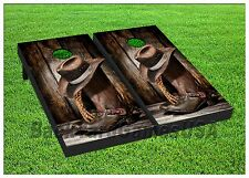 Cornhole Boards Beanbag Toss Game Cowboy Boots & Hat with Bags Set 197