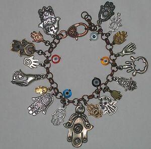 18  HAMSAS Kabbalah Charm Bracelet Evil eye Hamsa hand of Fatima glass eye beads