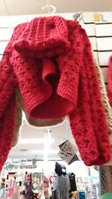 Red Valentine Sweater Handmade/with matching Hat. Infant Size 3T  Winter