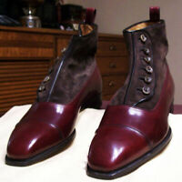 NEW-MEN HANDMADE BURGUNDY & BROWN BUTTON BOOTS HIGH ANKLE LEATHER & SUEDE SHOES