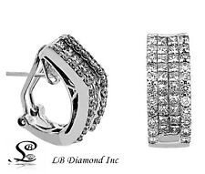 Diamond Earrings 2.59ct Princess and Round Cut Diamonds in 18k White Gold